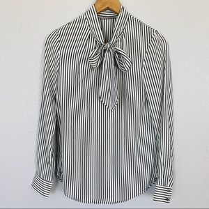 H&M Striped Tie Neck Pussybow Blouse Size 0/XS